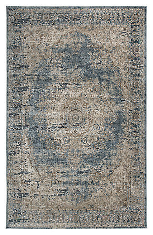 South 8' x 10' Rug, Blue/Tan, large