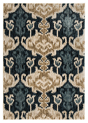 Saville 5' x 7' Rug, Blue/Brown, large