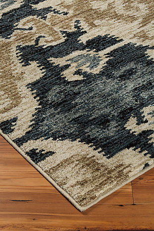 Saville 5' x 7' Rug, Blue/Brown, rollover
