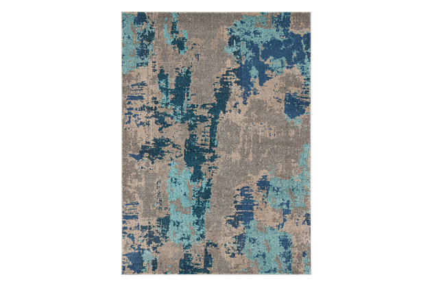 Maynard 5' x 7' Rug, Gray/Blue, large