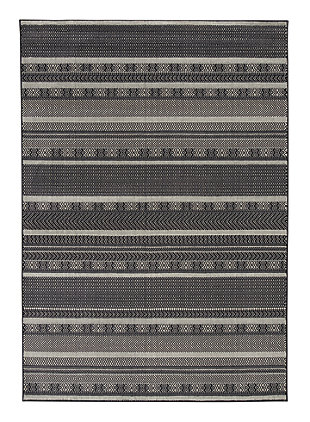 "Jeven 7'10"" x 10'10"" Rug, Black/Cream, large"