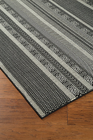 "Jeven 5'3"" x 7'6"" Rug, Black/Cream, large"