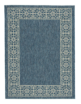 "Jeb 7'10"" x 10'6"" Indoor/Outdoor Rug, Blue/Tan, large"