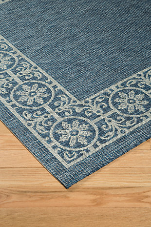 "Jeb 7'10"" x 10'6"" Indoor/Outdoor Rug, Blue/Tan, rollover"