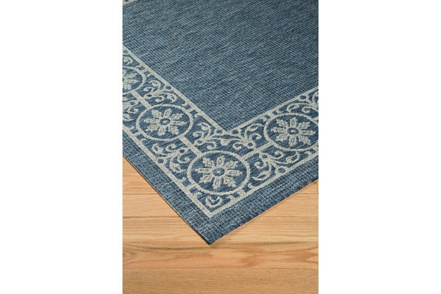 "Jeb 5'3"" x 7'3"" Indoor/Outdoor Rug, Blue/Tan, large"