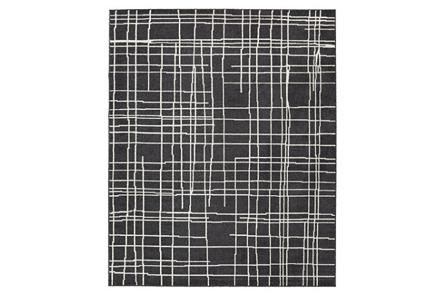Jai 8' x 10' Rug, Black/White, large