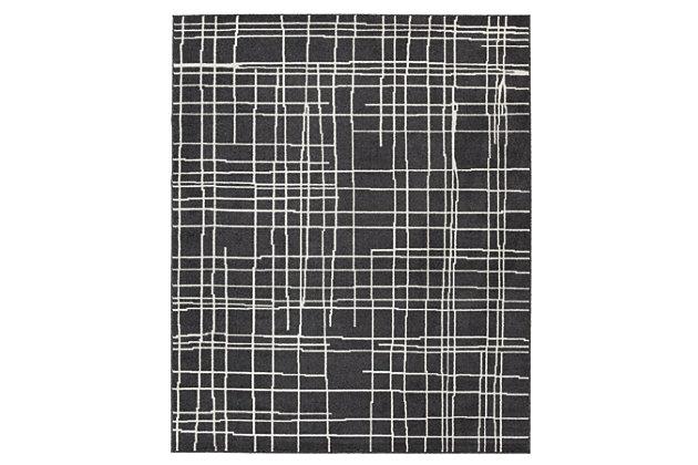 Jai 5' x 7' Rug, Black/White, large