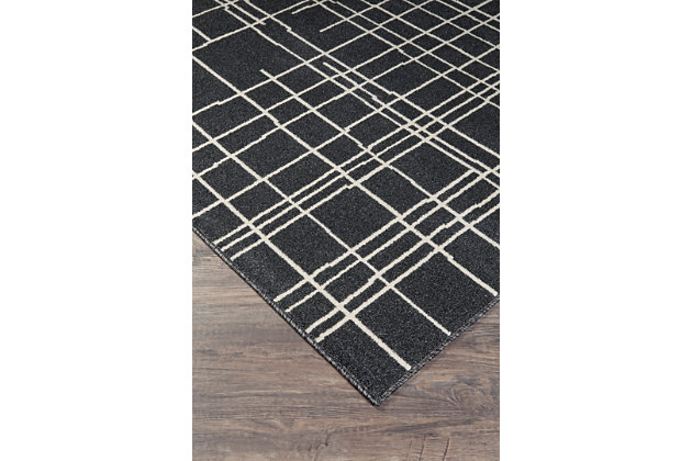 Jai 5' x 7' Rug, Black/White, large