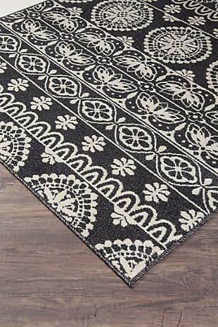 Jicarilla 5' x 7' Rug, Black/White, large