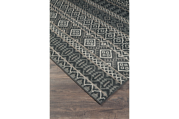 "Joachim 5' x 7'3"" Rug, Black/Tan, large"