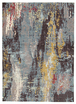 Quent 8' x 10' Rug, Blue/Gray/Yellow, rollover