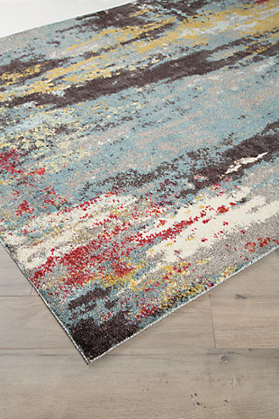 Quent 5' x 7' Rug, Blue/Gray/Yellow, rollover