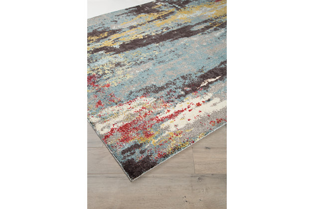 Quent 5' x 7' Rug, Blue/Gray/Yellow, large