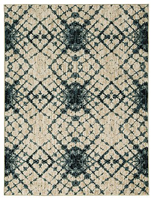 "Catheryn 5'3"" x 7' Rug, Blue/Ivory, large"