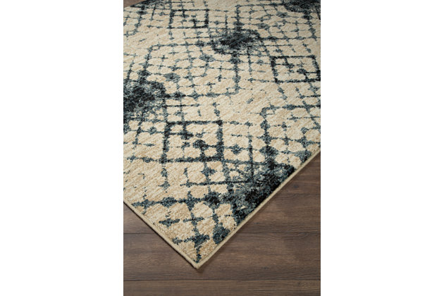"Catheryn 7'10"" x 10' Rug, Blue/Ivory, large"