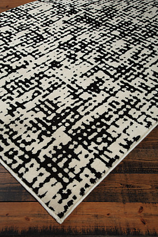 Jezel 5' x 7' Rug, Black/White, large