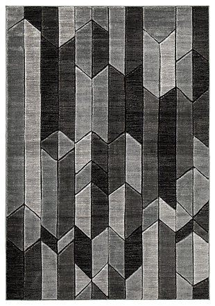 "Chayse 6'6"" x 9'6"" Rug, Black/Gray, large"