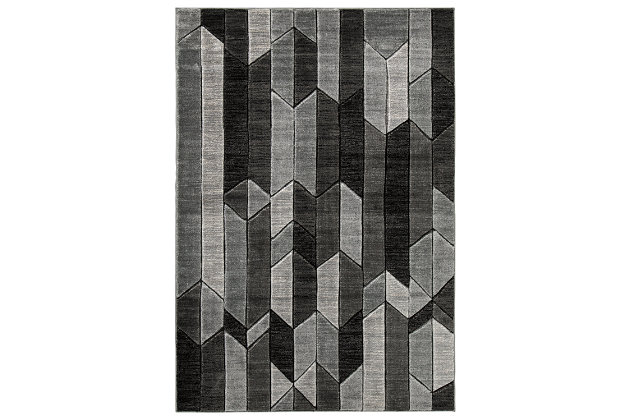 "Chayse 5' x 6'7"" Rug, Black/Gray, large"
