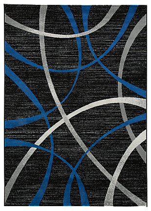 Jenue 5' x 7' Rug, Black/Gray/Blue, large
