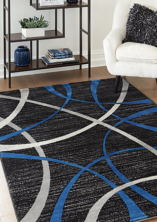 Jenue 5' x 7' Rug, Black/Gray/Blue, rollover