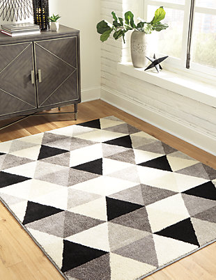 Jamaun 5' x 7' Rug, Black/Cream/Gray, rollover