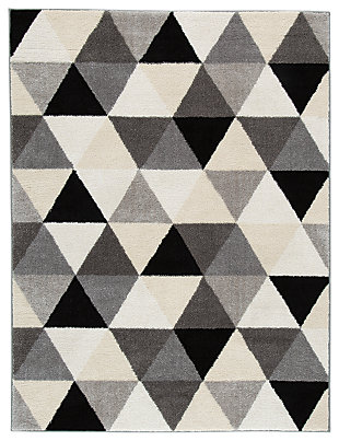 Jamaun 5' x 7' Rug, Black/Cream/Gray, large