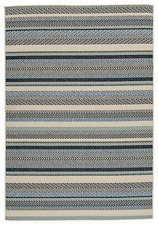 Troost 5' x 7' Rug, Blue/Cream, large