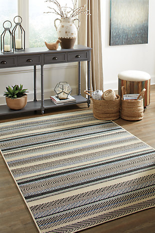 Troost 5' x 7' Rug, Blue/Cream, rollover