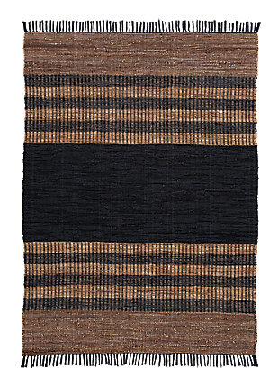 Zoran 5' x 7' Rug, Black/Brown, large