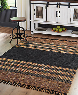 Zoran 5' x 7' Rug, Black/Brown, rollover