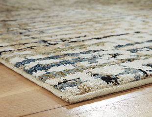 "Mahina 5'3"" x 7' Rug, Tan/Blue/Cream, large"