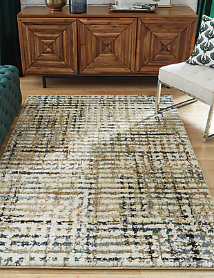 "Mahina 5'3"" x 7' Rug, Tan/Blue/Cream, rollover"