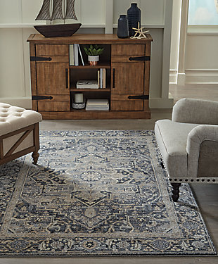 "Paretta 5'3"" x 7'3"" Rug, Cream/Navy/Gray, rollover"