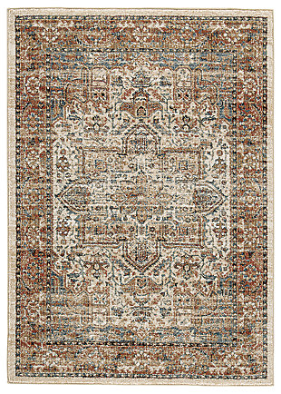 "Jirair 5'3"" x 7' Rug, Tan/Blue/Rust, large"