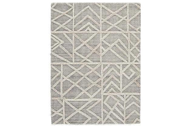 Karah 5' x 7' Rug, Gray/Ivory, large