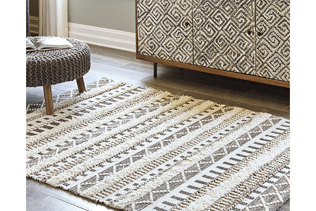 Karalee 5' x 7' Rug, Ivory/Brown, large