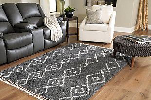 "Maysel 7'10"" x 9'10"" Rug, Charcoal/White, rollover"