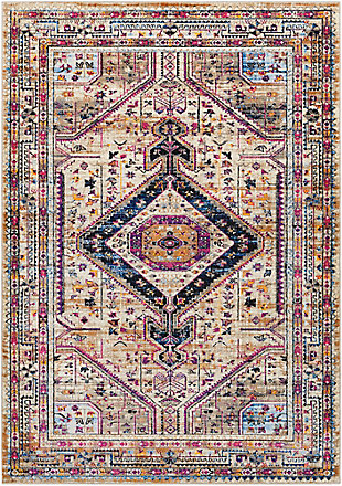 "Distressed 5' x 7'3"" Area Rug, Multi, large"