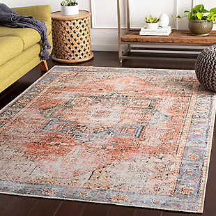 "Distressed Pattern 5'3"" x 7'3"" Area Rug, Multi, large"