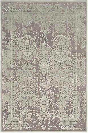 "Distressed Design 5'2"" x 7'3"" Area Rug, Seafoam/Medium Gray, large"