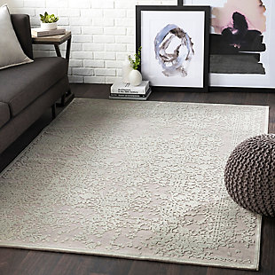 "Distressed Design 6'7"" x 9'6"" Area Rug, Seafoam/Medium Gray, large"