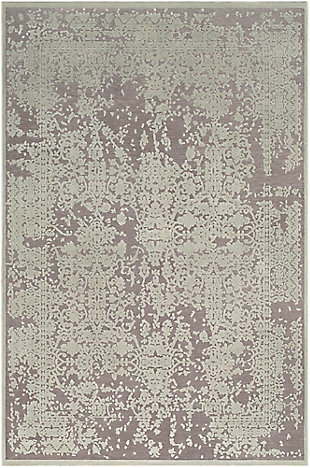 "Distressed Design 7'10"" x 10'4"" Area Rug, Seafoam/Medium Gray, large"