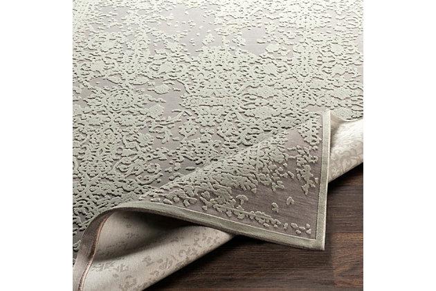 "Distressed Design 7'10"" x 10'4"" Area Rug, Seafoam/Medium Gray, large"