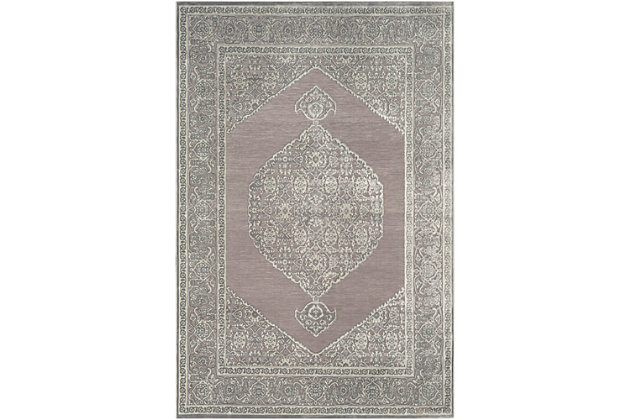 Distressed Design 2' x 3' Area Rug, Seafoam/Medium Gray, large