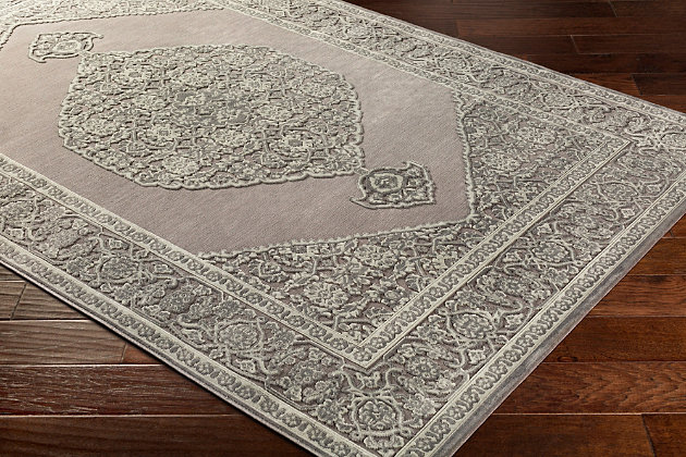"Distressed Design 5'2"" x 7'3"" Area Rug, Seafoam/Medium Gray, large"