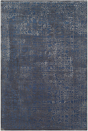 "Rectangular 6'7"" x 9'6"" Area Rug, Dark Blue/Charcoal, large"