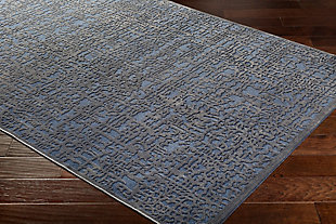 "Rectangular 6'7"" x 9'6"" Area Rug, Dark Blue/Charcoal, rollover"