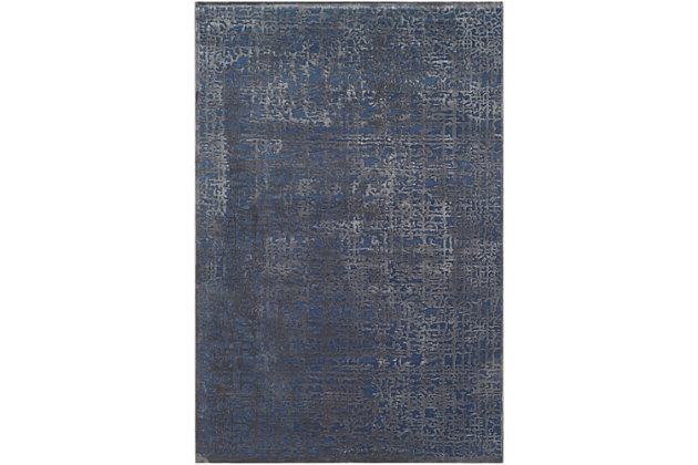 "Rectangular 6'7"" x 9'6"" Area Rug, Dark Blue/Charcoal, large"