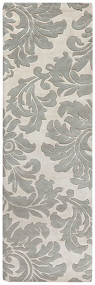 "Wool 2'6"" x 8' Runner, Medium Gray/Cream, large"