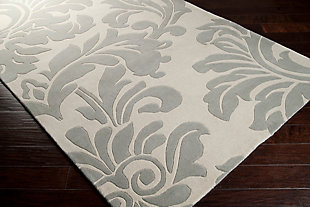 "Wool 2'6"" x 8' Runner, Medium Gray/Cream, rollover"